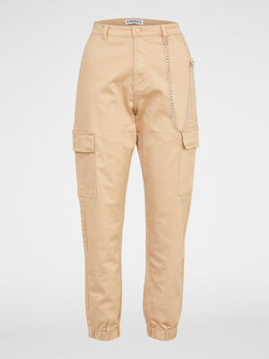 Pantalon battle avec chaine decorative beige femme