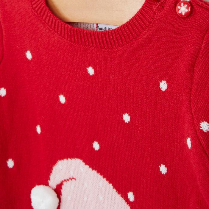 Robe pull de noel fantaisie fille rouge