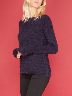 Pull a rayures col rond bleu marine femme