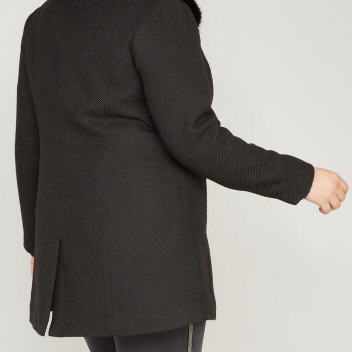 manteau fourrure synthétique femme noir