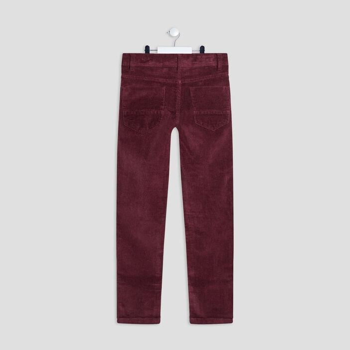 Pantalon slim velours côtelé garçon bordeaux
