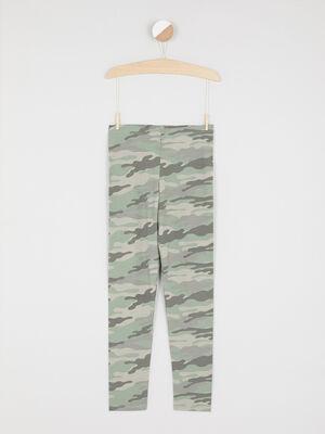 Legging a motif zebre vert kaki fille