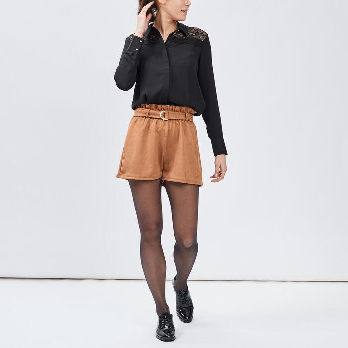 Chemise manches longues femme noir