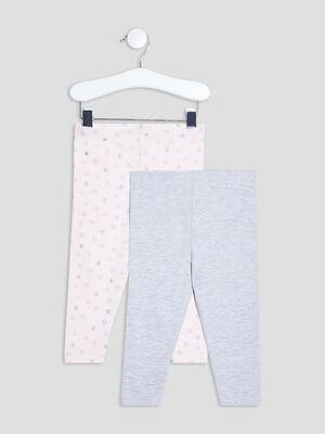 Lot 2 leggings rose clair bebef