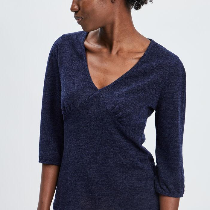 T-shirt manches 3/4 femme bleu marine