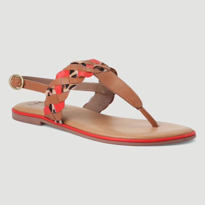 Sandales tressées entre-doigt en cuir femme orange corail