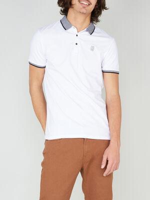 Polo coupe slim coton melange blanc homme