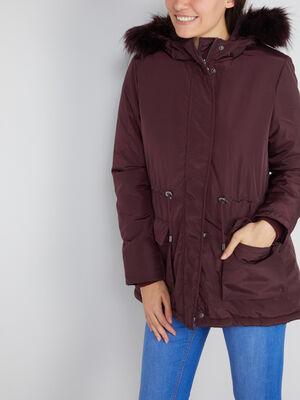 Manteau avec lien a la taille prune femme