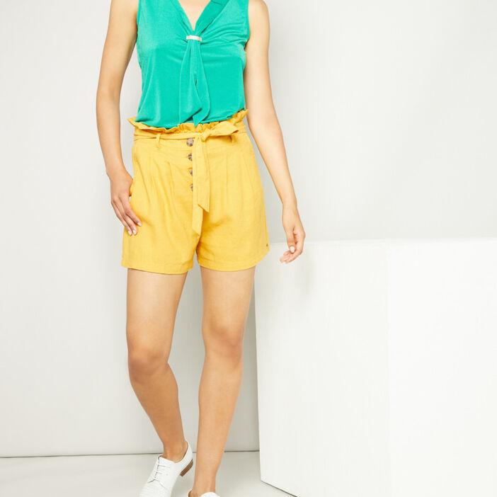 Short ample paper bag femme jaune moutarde