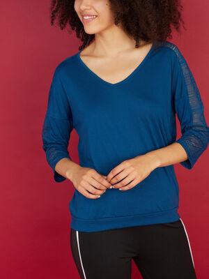 T shirt manches 34 avec dentelle bleu canard femme