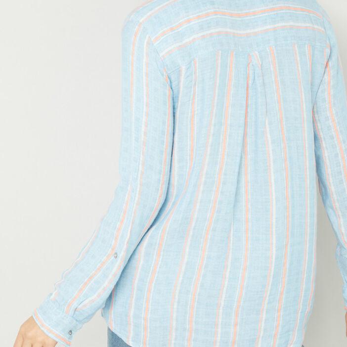 Chemise rayures verticales grossesse femme bleu