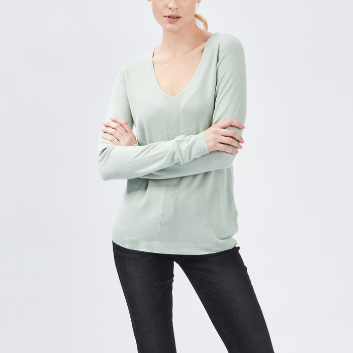 Pull manches longues femme vert clair