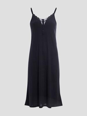 Chemise de nuit a bretelles noir femme
