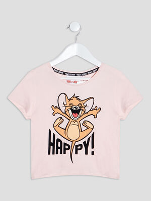 T shirt Tom et Jerry rose poudree fille