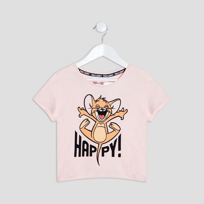 T-shirt Tom et Jerry fille rose poudrée