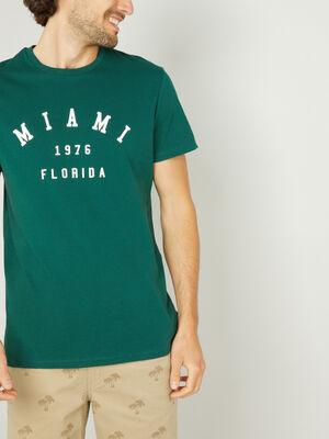 T shirt manches courtes vert homme