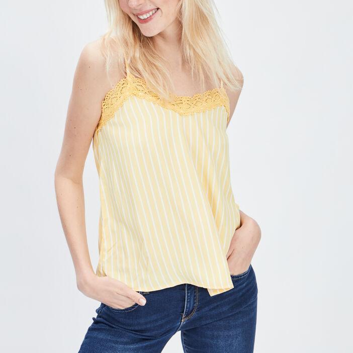 Blouse bretelles fines femme jaune