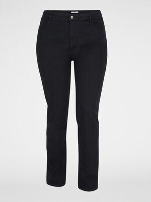 Pantalon uni grande taille noir femme
