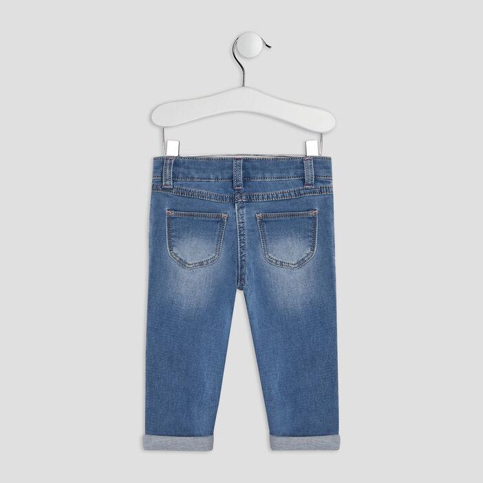 Jeans slim à bandes bébé fille denim double stone