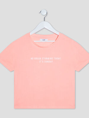 T shirt manches courtes rose corail fille