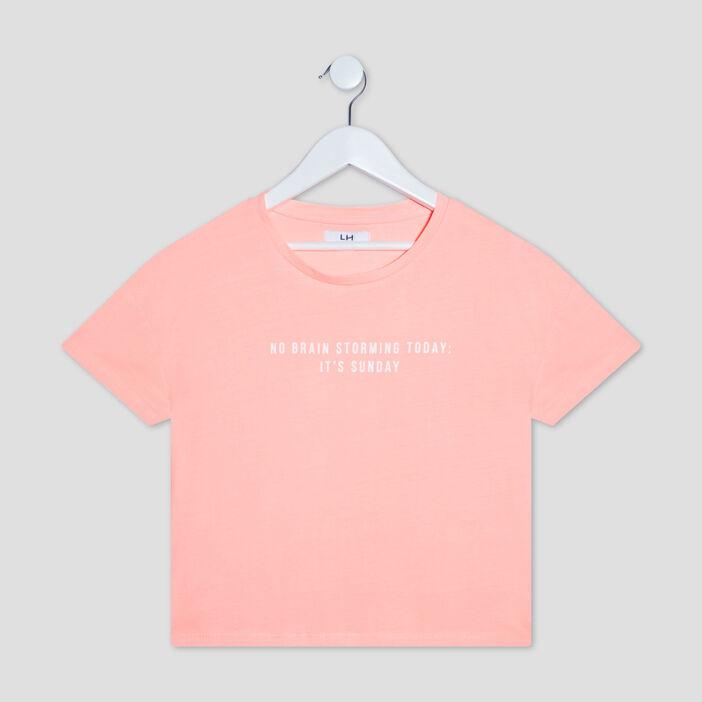 T-shirt manches courtes fille rose corail