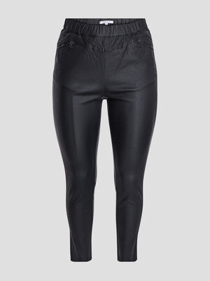 Pantalon slim enduit noir femmegt