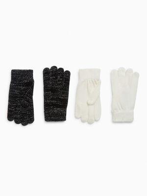 Lot 2 paires de gants noir mixte