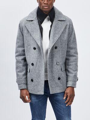 Manteau droit boutonne gris homme