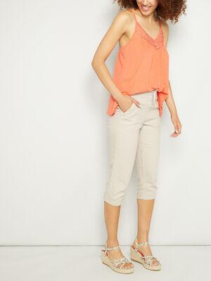 Pantacourt uni taille elastiquee beige femme