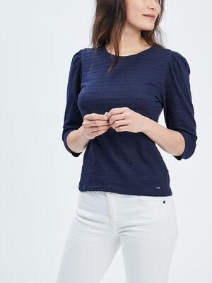 T shirt manches 34 Creeks bleu marine femme