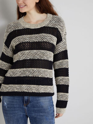 Pull raye maille ajouree gris fonce femme