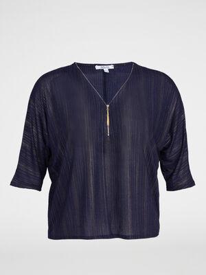 T shirt zippe a rayures metallisees bleu marine femme