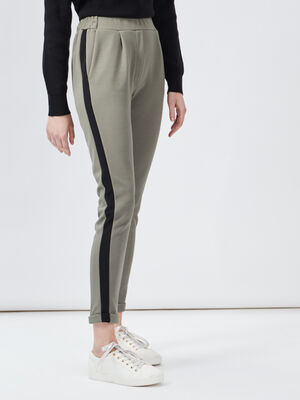 Pantalon jogging a bandes vert kaki femme