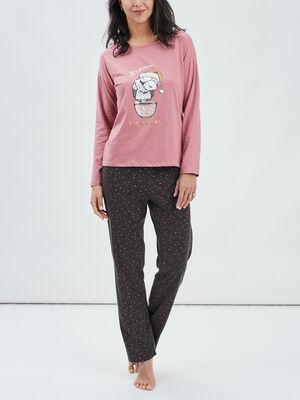 Ensemble pyjama 2 pieces vieux rose femme