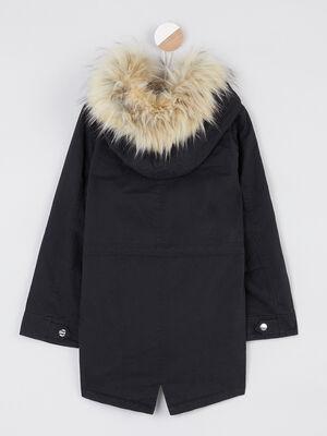 Manteau avec capuche fausse fourrure noir fille