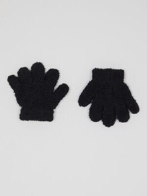 Gants maille douce noir mixte