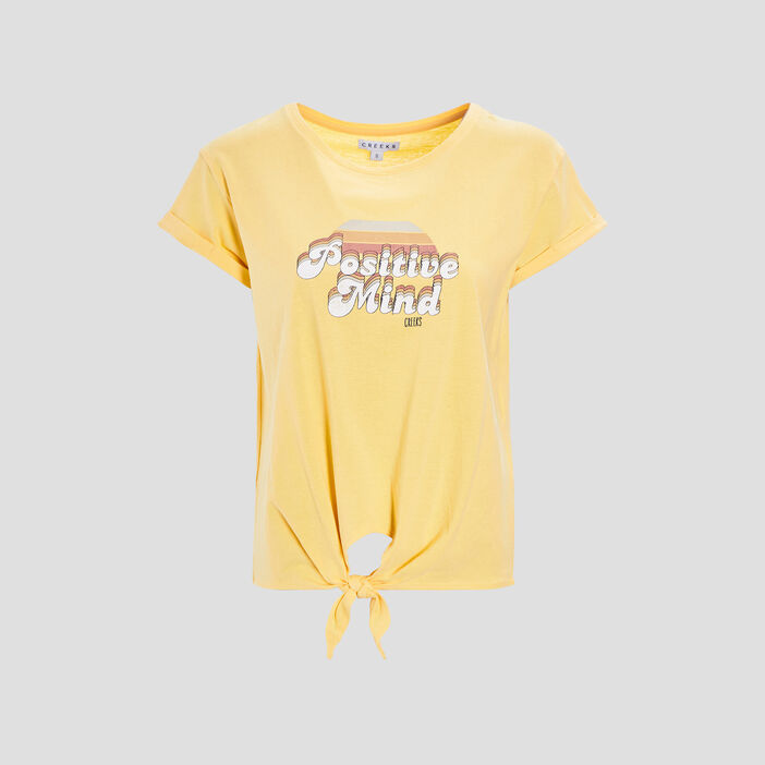 T-shirt manches courtes Creeks femme jaune moutarde