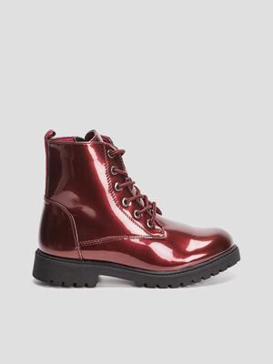 Bottines plates crantees bordeaux fille
