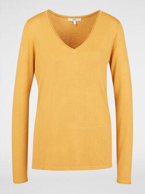 Pull col V uni jaune moutarde femme