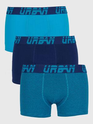 Lot 3 boxers en coton bleu turquoise homme