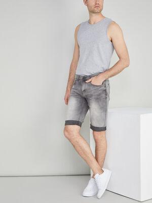 Bermuda jean bleached avec revers gris homme