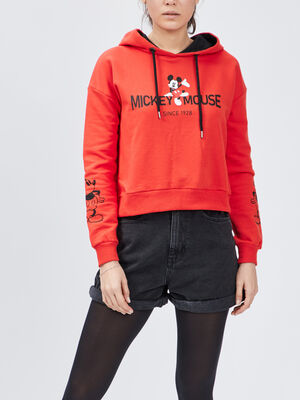 Sweat a capuche Mickey rouge femme