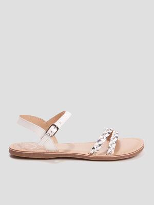 Sandales a details tresses blanc fille