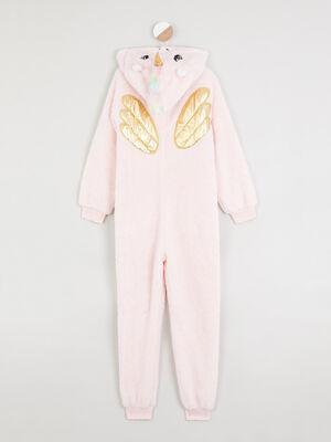 Combinaison de pyjama zippee licorne rose clair fille