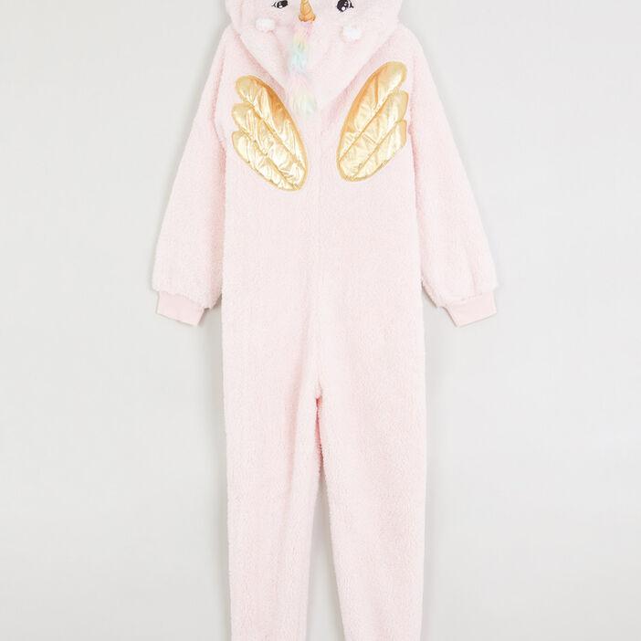 Combinaison de pyjama zippée licorne fille rose clair