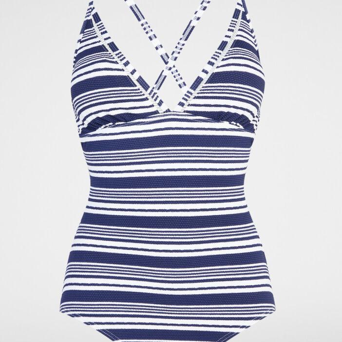 Maillot 1 pièce rayé femme bleu marine