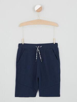 Short uni tissu pique bleu marine garcon