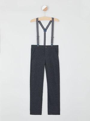 Pantalon et bretelles ajustables gris fonce garcon