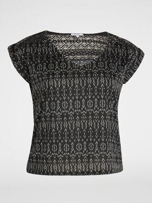 T shirt imprime a manches courtes noir femme