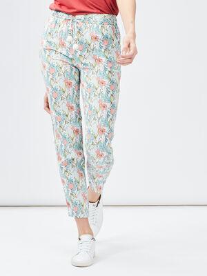 Pantalon ample a pampilles ecru femme